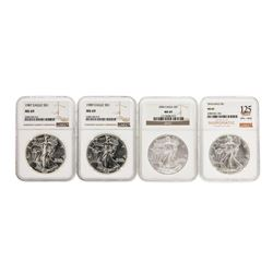 Lot of (4) Assorted $1 American Silver Eagle Coins NGC MS69
