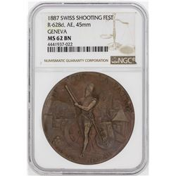 1887 Swiss Shooting Fest Geneva 45mm Medal NGC MS62BN