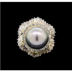 14KT Yellow Gold 13mm Pearl and Diamond Ring