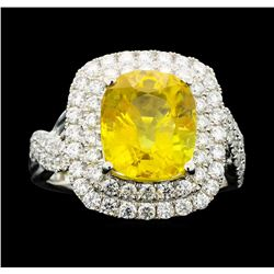 Platinum 5.96ct Yellow Sapphire and Diamond Ring