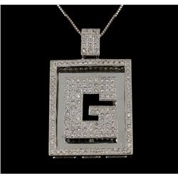 14KT-18KT White Gold 3.50ctw Diamond Pendant with Chain