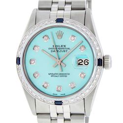 Rolex Mens Stainless Steel 1.00ctw Sapphire and Diamond Datejust Wristwatch