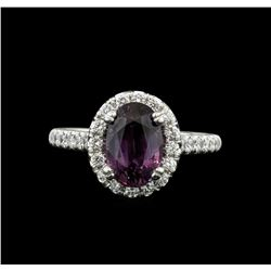 14KT White Gold 2.66ct GIA Certified Purple Sapphire and Diamond Ring