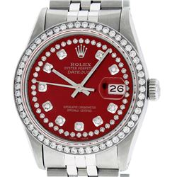 Mens Rolex Stainless Steel Red String Diamond Datejust Wristwatch