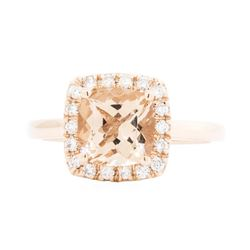 14KT Rose Gold Ladies 2.10ct Morganite and Diamond Ring