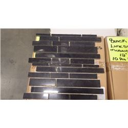 "12"" X 12"" BLACK LIMESTONE MINI PLANKING MOSAIC,POLISHED, 50 PCS"