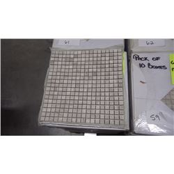 "12"" X 12"" WHITE WOODRIDGE MOSAIC POLISHED 5/8"" X 5/8"", 50 PCS"