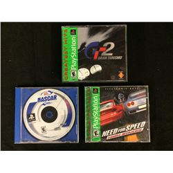 PLAYSTATION VIDEO GAME LOT (NEED FOR SPEED, GT2, 2001 NASCAR)