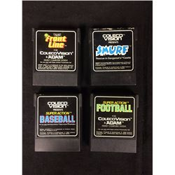 COLECO VISION VIDEO GAME LOT (FRONT LINE, SMURF, BASEBALL, FOOTBALL)