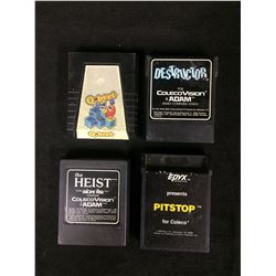 COLECO VISION VIDEO GAME LOT (DESTRUCTOR, PIT STOP, THE HEIST, QBERT)