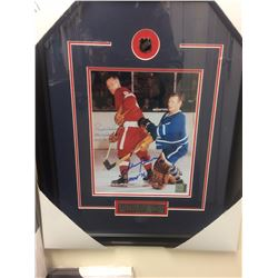 "GORDIE HOWE & JOHNNY BOWER SIGNED 14"" X 18' FRAMED & MATTED PHOTO W/ COA"