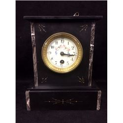 FRENCH MOVEMENT MANTLE CLOCK (WORKING) SLATE & ENGLISH MARBLE FUSEE