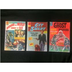 VINTAGE DELL COMIC BOOK LOT (AROUND THE WORLD UNDER THE SEA, GET SMART, GHOST STORIES)