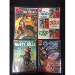 VINTAGE DELL COMIC BOOK LOT (PRINCE VALIANT, THE MOD SQUAD, SPACE MAN, RUSTY RILEY)