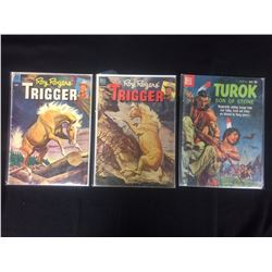 VINTAGE DC COMIC BOOK LOT (ROY ROGERS' TRIGGER, TUROK SON OF STONE)