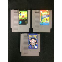 NINTENDO VIDEO GAME LOT (BASEBALL, MAGIC DARTS, SESAME STREET)