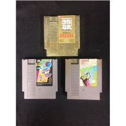 NINTENDO VIDEO GAME LOT (ZELDA, WOOD & WATER RAGE, GOLF)