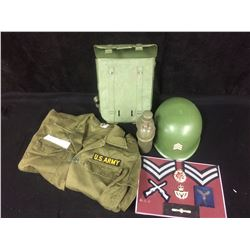 ARMY HALLOWEEN COSTUME W/ HELMET, CANTEEN, BADGES & JACKET