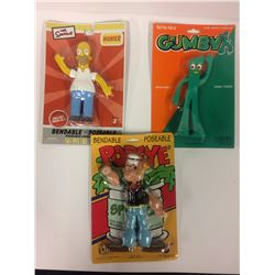Vintage Bendable Poseable Action Figure LOT (GUMBY, POPEYE, HOMER SIMPSON)
