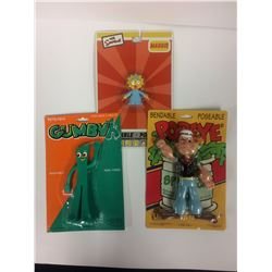 Vintage Bendable Poseable Action Figure LOT (GUMBY, POPEYE, MAGGIE)
