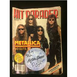 "METALLICA AUTOGRAPHED ""HIT PARADER"" MAGAZINE W/ BACKSTAGE PASS & USED CONCERT TICKET (1989)"