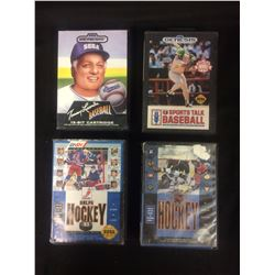 SEGA VIDEO GAME LOT (LASORDA BASEBALL, HOCKEY 93, SPORTS TALK BASEBALL, HOCKEY)