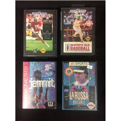 SEGA GENESIS VIDEO GAME LOT (SPORTS TALK 93, JAMMIT, LARUSSA BASEBALL, SPORTS TALK BASEBALL)