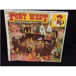 Vintage Tim Mee Toy Plastic Cowboy Fort West Play Set -