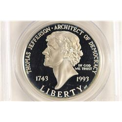 1993-S JEFFERSON COMMEMORATIVE SILVER DOLLAR