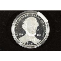 2000 LIBERIA SILVER PROOF $20 ABRAHAM LINCOLN