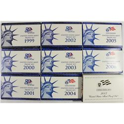 1999-2007 US PROOF SETS (WITH BOXES) 9 SETS TOTAL