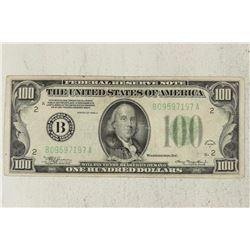 1934-A $100 GREEN SEAL FEDERAL RESERVE NOTE
