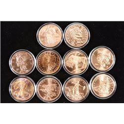 10-1 OZ. COPPER ZOMBUCKS, ALL DIFFERENT
