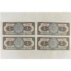 4 PIECES OF 1967 MEXICO CRISP UNC PESOS