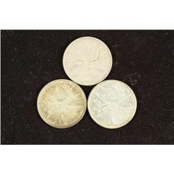 1964,65 & 68 CANADA SILVER 25 CENTS