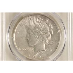 1924 PEACE SILVER DOLLAR PCGS XF DETAILS