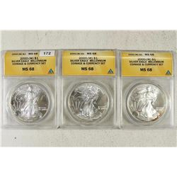 3-2000-W AMERICAN SILVER EAGLES ANACS MS68'S