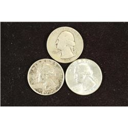 1940,54 & 64-D WASHINGTON SILVER QUARTERS
