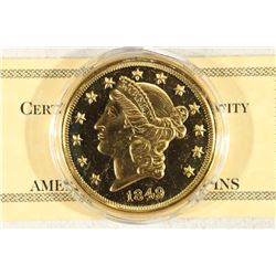 2 TROY OZ. .999 FINE SILVER 24KT GOLD PLATED PF