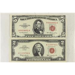 1963 $2 AND 1953 $5 RED SEAL US NOTES