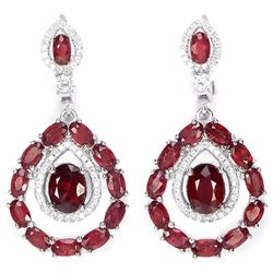 Natural Red Ruby 70 Carats Earrings