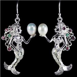 NATURAL JAPANESE PEARL EMERALD RUBY MERMAID EARRING