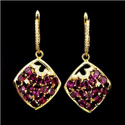 NATURAL PINK RASPBERRY RHODOLITE GARNET EARRINGS