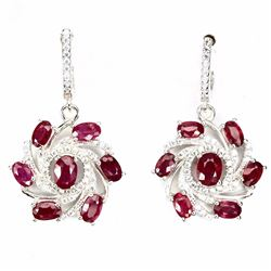 Natural Red Ruby 35.72 Cts Earrings
