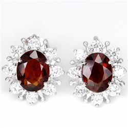 Natural Red/Orange Garnet Earrings