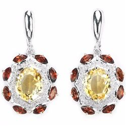 NATURAL YELLOW CITRINE & GARNET Earring