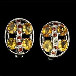 Natural Yellow Citrine Mozambique Garnet Earrings