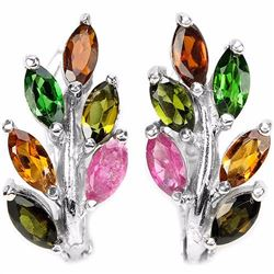 NATURAL MULTI COLOR TOURMALINE LEAF EARRING