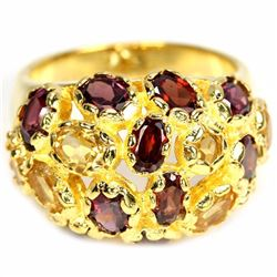NATURAL AAA MULTI COLOR GARNET & CITRINE RING