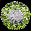 Image 1 : Natural Green Peridot 25 Carats Flower Ring